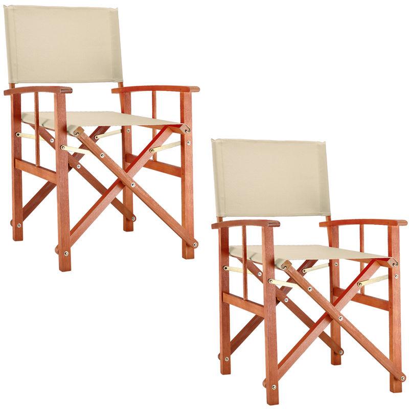 2x Deuba Directors Chair Wooden Folding Outdoor Garden Bistro Cafe Oxford Fabric Seat Cream