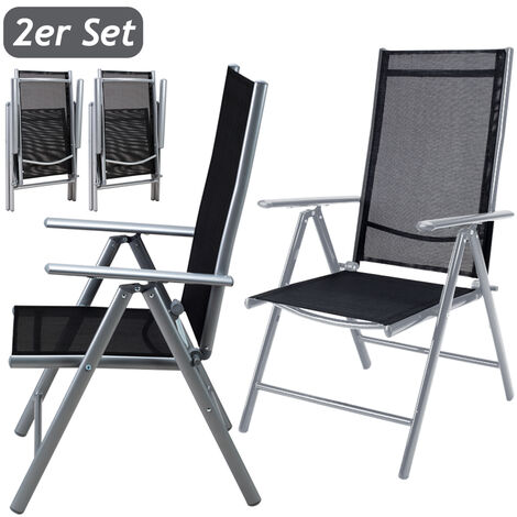 2x Deuba Garden Dining Chair Bern Folding Chairs Set Aluminum Recliner Outdoor Patio Silver or Anthracite