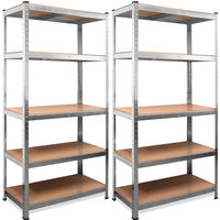 2x Deuba Shelving Unit 5 Tier Garage Metal Racking Storage Shelves Steel Boltless 875Kg Capacity CONVERTS TO WORKBENCH 180x90x40cm