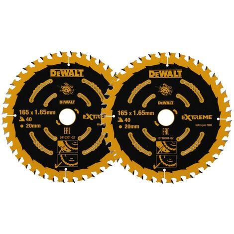 2x Dewalt DT10301 Circular Saw Blade 165 x 20mm x40 Tooth Extreme Framing DWE550