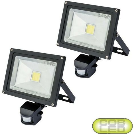 2x Draper Expert 20w COB LED Garden Security PIR Flood Light Motion Sensor IP44