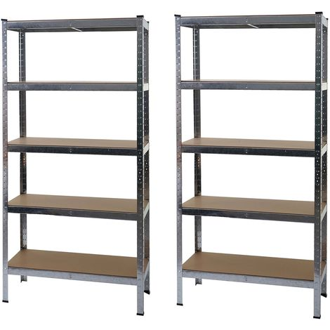 2x étagère pour charges lourdes HHG-412, étagère d'atelier, emboîtable, établi, métal 180x90x40cm