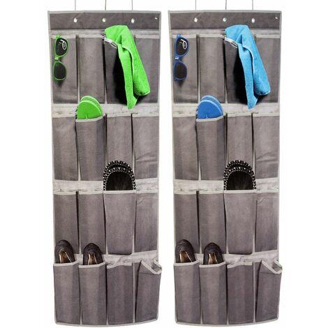 2x Etagères de rangement armoire suspendue 16 compartiments gris camping