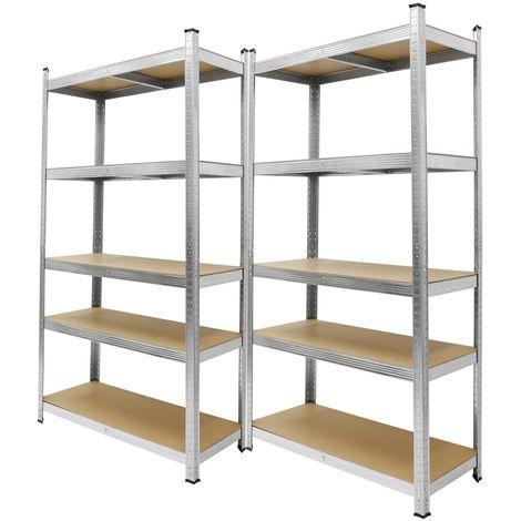 2x Etagères de rangement metallique atelier rayonnage unité garage 180x90x40cm
