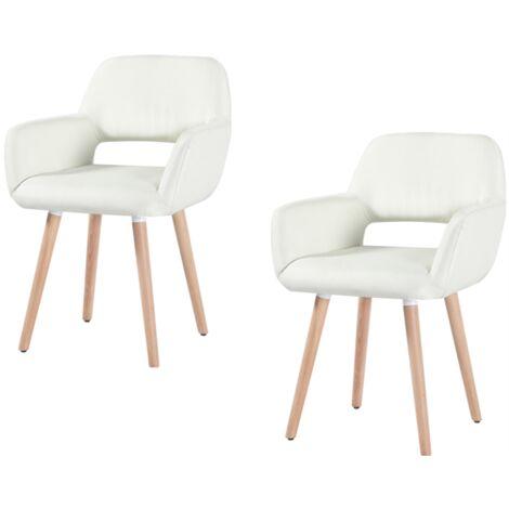 2X Fauteuil Chaise - Beige ,Pieds Bois - Style scandinave - Bureau Salle à manger Salon Chambre
