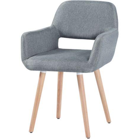 2X Fauteuil Chaise - Gris ,Pieds Bois - Style scandinave - Bureau Salle à manger Salon Chambre