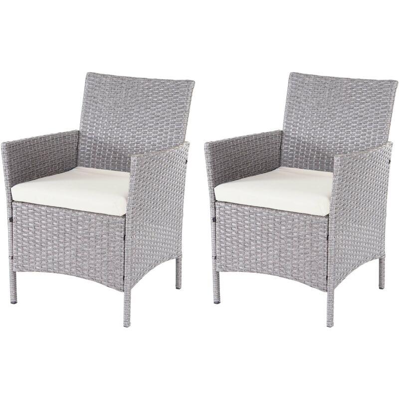 2x fauteuil de jardin Halden en polyrotin ~ gris, coussin couleur crème