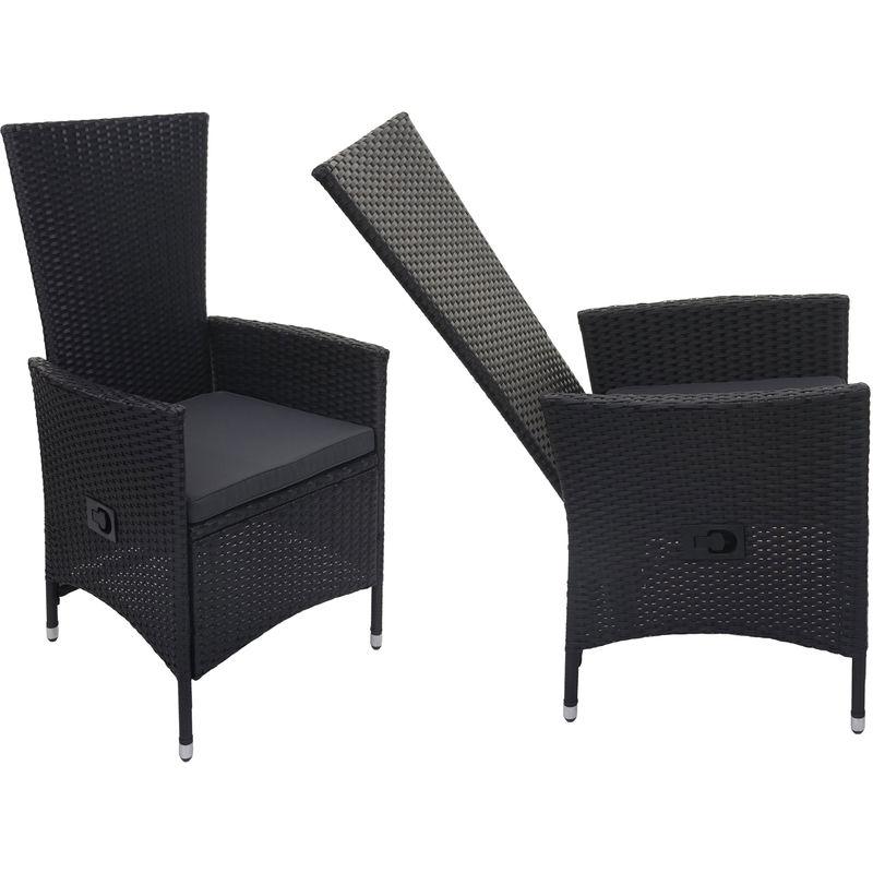 2x fauteuil en polyrotin 743, jardin, dossier réglable, bois d'acacia ~ anthracite, coussin gris foncé - HHG