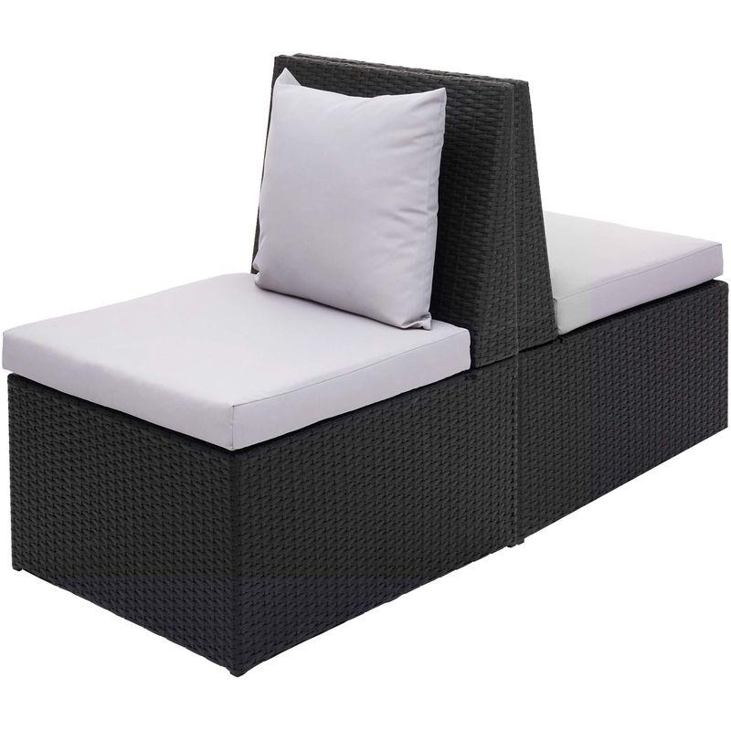 2x fauteuil en polyrotin 876, chaise de jardin, gastronomie ~ noir, coussin gris clair - HHG