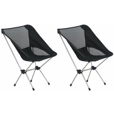 """main image of """"2x Folding Camping Chairs with Carry Bag 54x50x65 cm Aluminium - Black"""""""