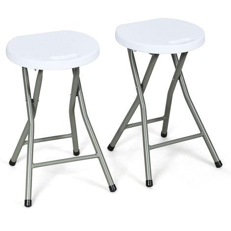 2X Folding Stool Portable Seat Plastic Home Kitchen Easy Storage Metal Frame
