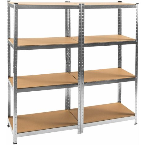 2x Garage shelving unit heavy duty 4 tier - metal shelving, garage storage, shed shelving - brown