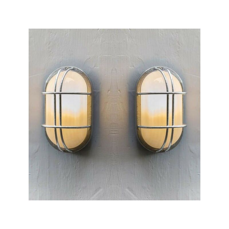 Image of 2x St Ives Bulk Head Cage Nautical Mains Fishermans Wall Light - Garden Trading