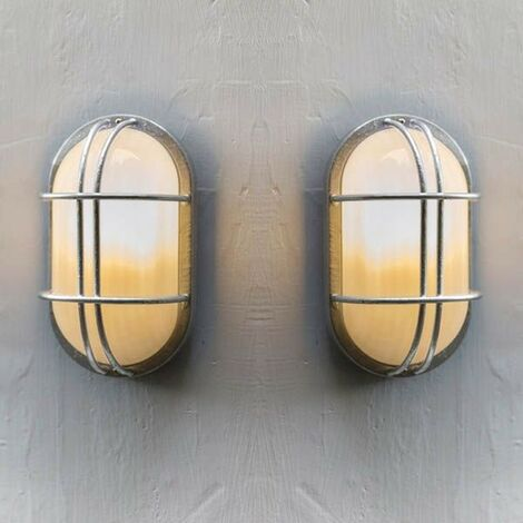 2x Garden Trading St Ives Bulk Head Cage Nautical Mains Fishermans Wall Light