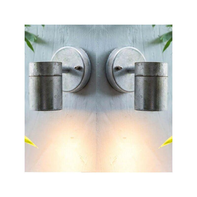 Image of 2x St Ives Down Spot Nautical Mains Garden Wall Light Steel - Garden Trading