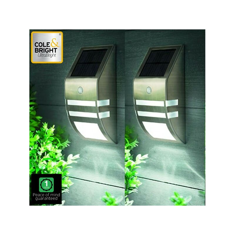 Image of 2x L22133 Motion Sensor Stainless Steel Wall Solar Light Cole & Bright - Gardman