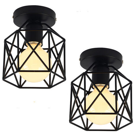 2x Geometric Creative Ceiling Lamp Industrial Retro Chandelier Black Metal Lampshade for Cafe Bar Loft Office