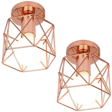 2x Geometric Creative Ceiling Lamp Industrial Retro Chandelier Rose Gold Metal Lampshade for Cafe Bar Loft Office