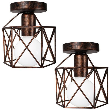 2x Geometric Creative Ceiling Lamp Industrial Retro Chandelier Rust Metal Lampshade for Cafe Bar Loft Office