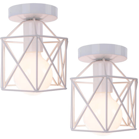 2x Geometric Creative Ceiling Lamp Industrial Retro Chandelier White Metal Lampshade for Cafe Bar Loft Office
