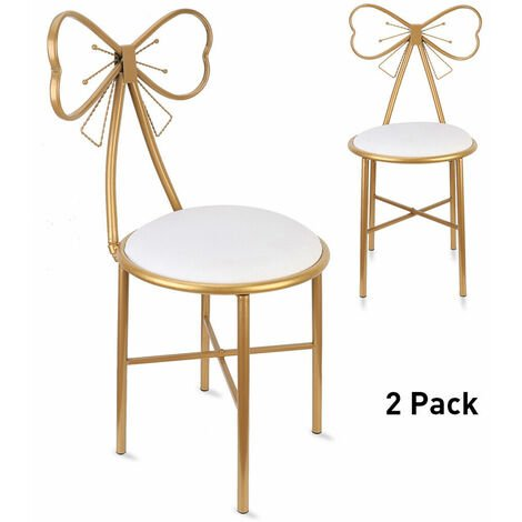2x Golden Butterfly Backrest Chairs PU Leather Cushion Dressing Table Stools,white