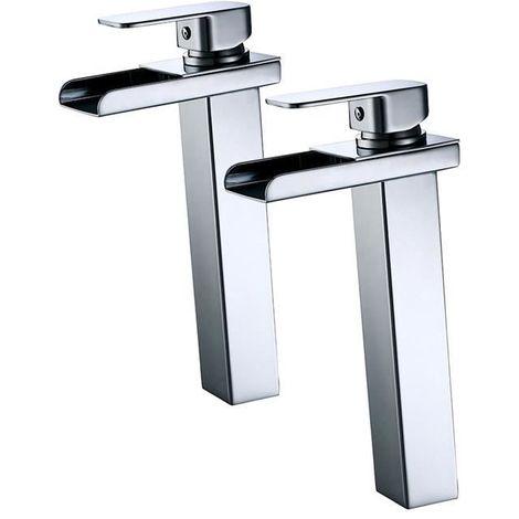 2x Grifo de baño de alta cascada Grifo de lavabo monomando Superficie de cromo material de latón diseño moderno