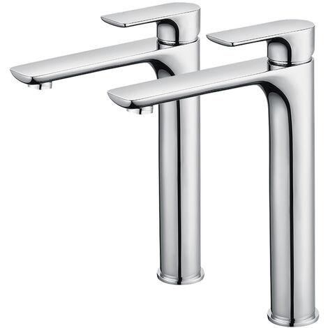2x Grifo de baño de caño alto Mezclador de lavabo cromado grande con aireador desmontable Grifo de lavabo de latón
