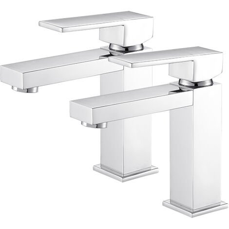 2x Grifo de baño en forma de L Grifo mezclador de lavabo de latón cromado Grifo de lavabo