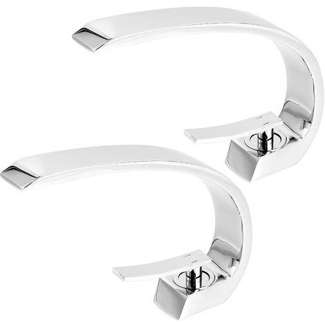 2X Grifo para Lavabo de Baño Diseño Moderno, Monomando Grifería de Cuenca con Aireador Desmontable, Latón Cromado