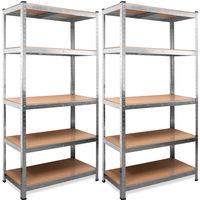 2x Heavy Duty Industrial Shelving Unit Deuba 5 Tier Garage Metal Racking Galvanized Storage Shelves Steel MDF Boltless 875Kg Capacity CONVERTS TO WORKBENCH Silver 180x90x40cm