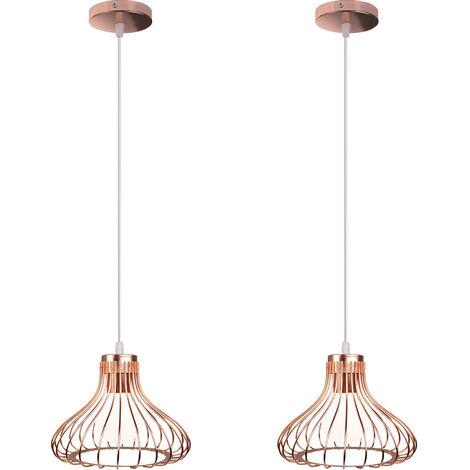 2x Height Adjustable Ceiling Light Vintage Industrial Rose Gold Pendant Light Creative Retro Chandelier for Indoor Decoration Bedroom Cafe Bar