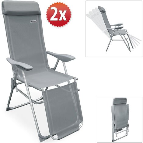 2x High Chair Aluminium Recliner Garden Patio Folding Chair Set