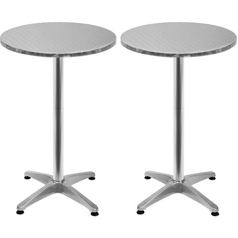 2x High Table Foldable Bistro Aluminium 2in1 Bar Folding Party Patio Garden