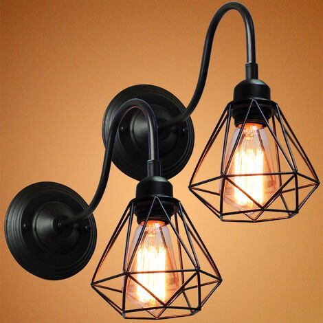 2X Industrial Creative Wall Lamp (Black) Cage Vintage Wall Light Retro Diamond Wall Sconce