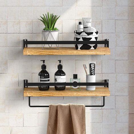"main image of ""2X Industrial Floating Shelf Display Storage Organizer Stand Kitchen Towel Rail"""