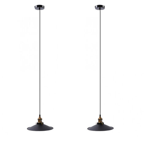 2X Industrial Simple Hanging Light Retro Pendant Light Antique Chandelier Ø26cm Vintage Ceiling Lamp Metal Iron Lamp Shade Black