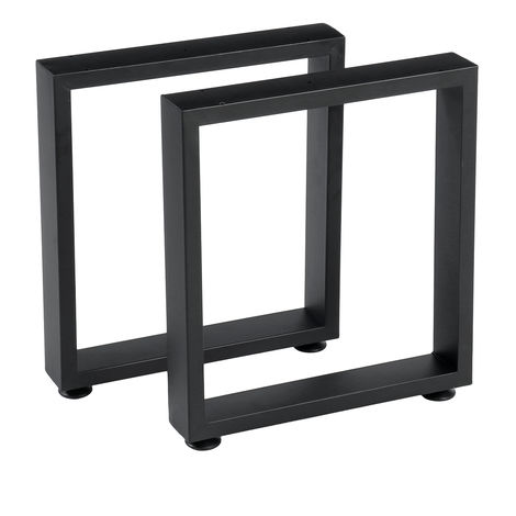 2x Industrial Steel Table Legs H40cm Square Shape With DIY Floor Protector