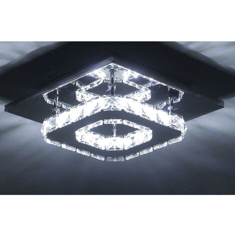 2X K9 Crystal Chandelier Clear Glass Ceiling Lamp Led Modern Ceiling Light for Office Living Room Bedroom Kitchen Living Room Cool White