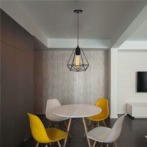 2X Lámpara Colgante Retro Industrial Colgante de Luz Vintage Luz Colgante 20CM Diamond Lámpara Colgante de Altura Ajustable para Sala de Estar Comedor Oficina Negra