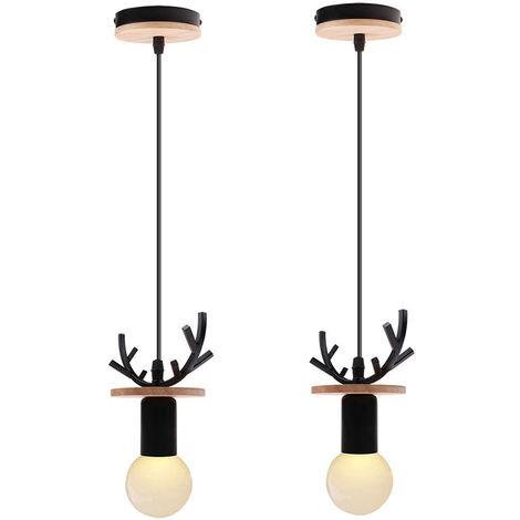 2x Lámpara de Araña Creativa de Ciervos Lámpara Colgante de Cornamenta Rural Lámpara de Techo Retro para Cafe Bar Office Negro
