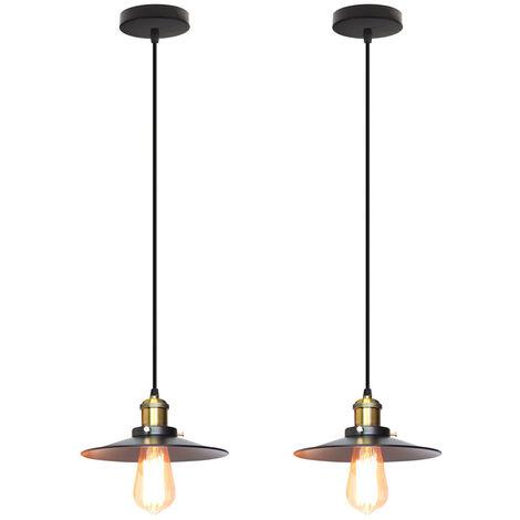 2X Lámpara de Araña Industrial Retro Lámpara de Techo de Hierro Forjado para Comedor Dormitorio Pasillo Escaleras Negro 22cm
