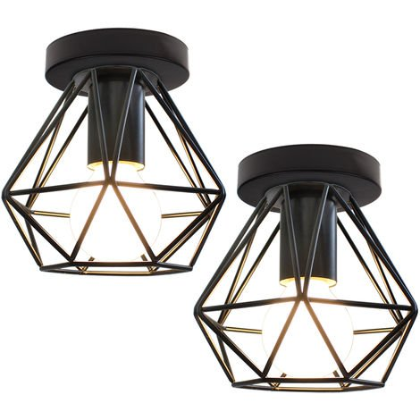 2x Lámpara de Araña Industrial Retro Lámpara de Techo de Jaula de Metal Lámpara Colgante Creativa para Interior Bar Club Negro