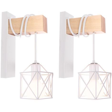 2x Lámpara de Pared con Forma de Cubo de Luz de Pared de Madera Retro Aplique de Pared Cuadrado Creativo Moderno para Mesita de Noche Loft Escalera Blanco