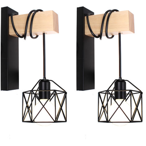 2x Lámpara de Pared con Forma de Cubo de Luz de Pared de Madera Retro Aplique de Pared Cuadrado Creativo Moderno para Mesita de Noche Loft Escalera Negro