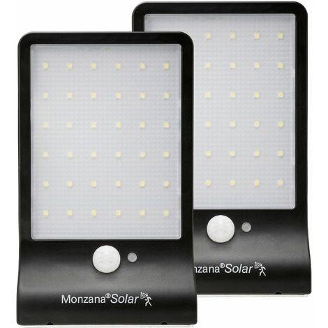 2x Lámparas de pared solares con sensor de movimientos y 36 focos LED
