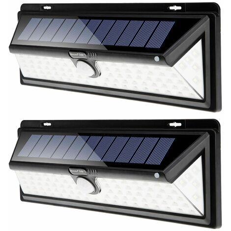 2x Lámparas de pared solares con sensor de movimientos y 90 focos LED