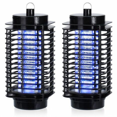 2x Lampe anti-moustiques LED Insectes piège UV Insectes Volants 50m² Salon Maison Onde électrode intérieur Tueur Insectes Moustique