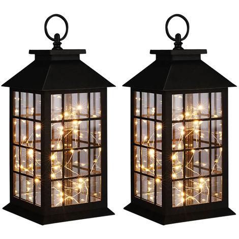 2x lanterne décorative à LED, guirlandes lumineuses, H 31,5 cm