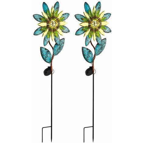 2x LED enchufe solar tierra picos lámparas patios sol flores jardín decoración luces