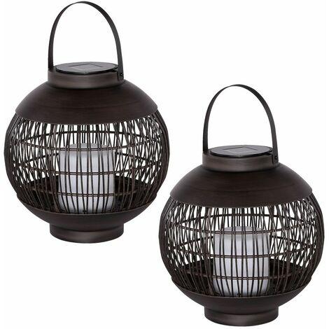 2x LED lámpara de bola colgante solar vela mesa al aire libre parque decoración linterna efecto de fuego